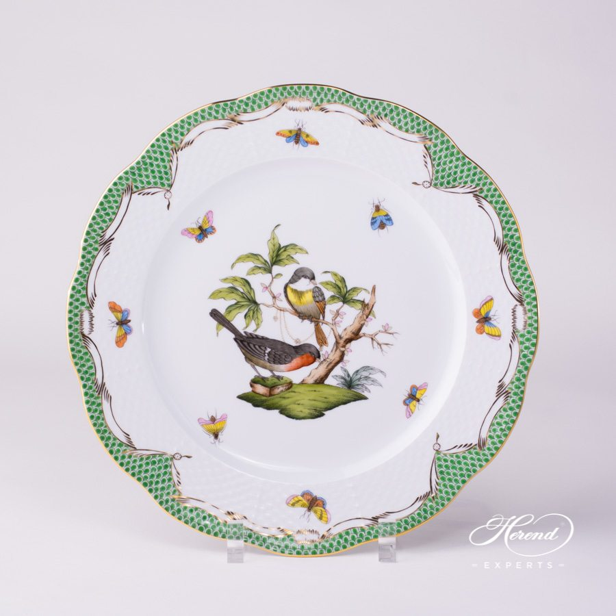 Dinner Plate 524-0-00 RO-ETV Rothschild Bird Green Fish scale decor. Herend porcelain. Hand painted dinnerware