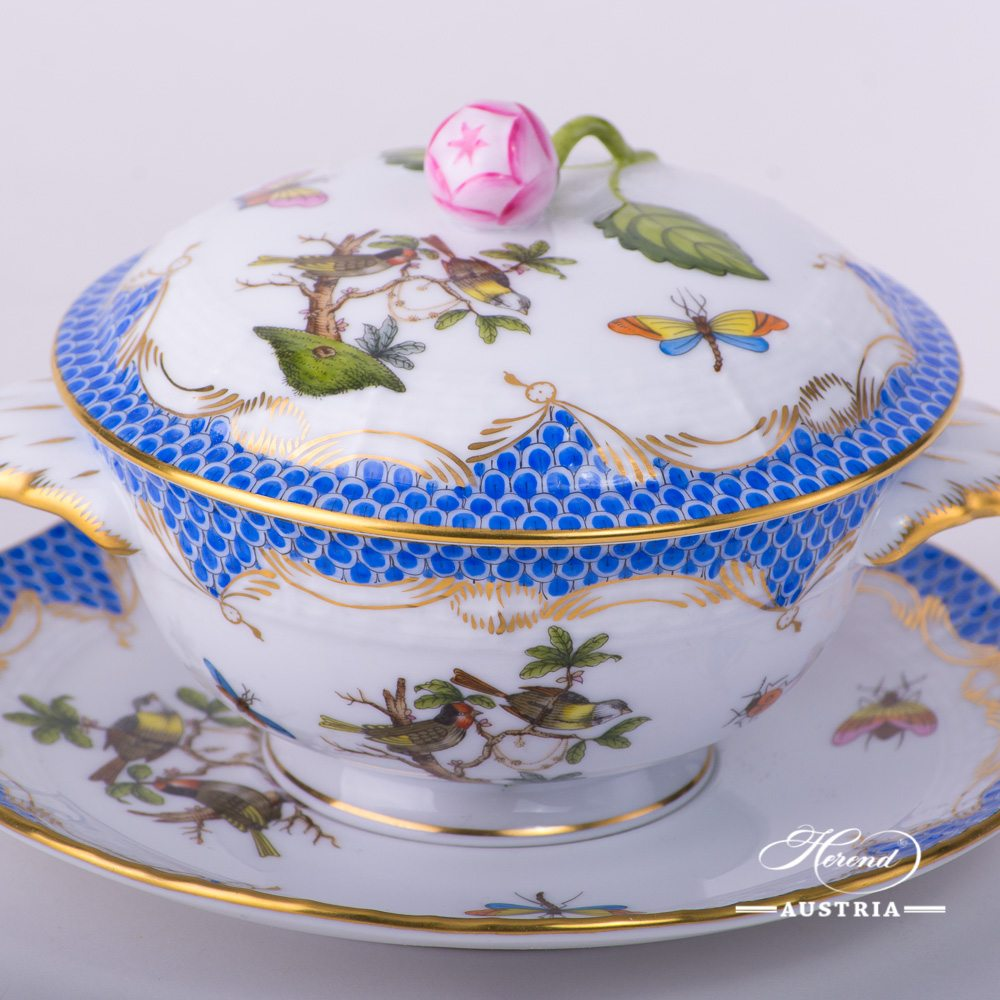 Soup Cup and Lid with Saucer 740-0-12 RO-ETB Rothschild Bird Blue Fish scale decor. Herend porcelain. Hand painted tableware