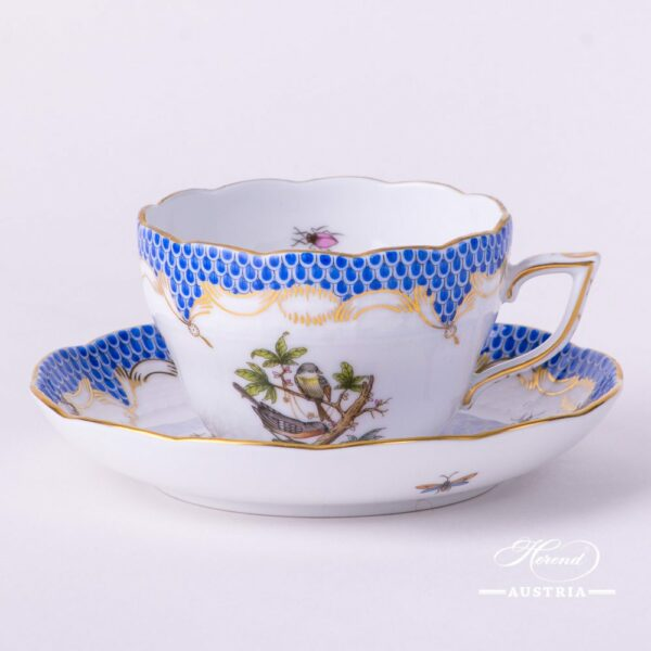 Tea / Coffee Cup with Saucer 730-0-00 RO-ETB Rothschild Bird Blue Fish Scale decor. Herend porcelain hand painted