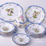 Dinner Set for 2 Persons - Herend Rothschild Bird Blue Fish scale RO-ETB decor. Herend porcelain. Hand painted dinnerware