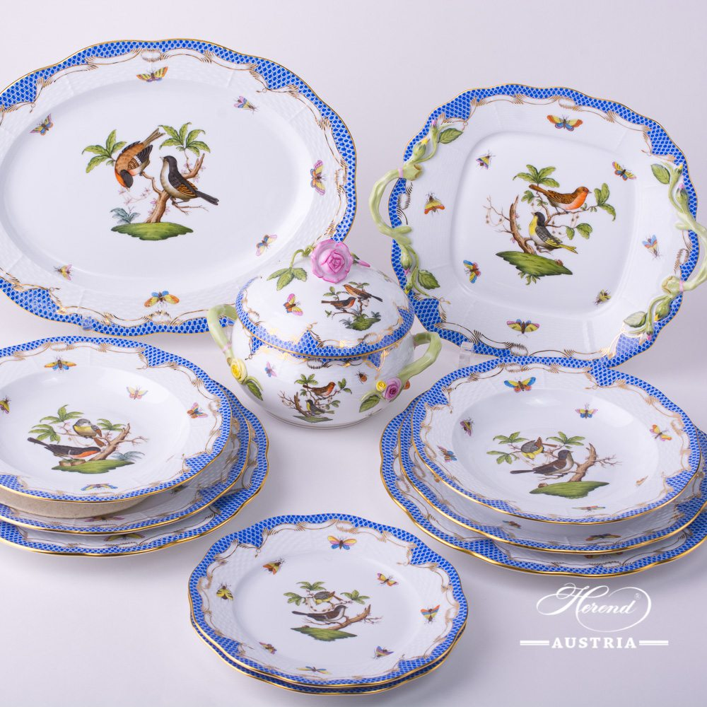 Rothschild Bird Blue Fish Scale (RO-ETB) - Dinner Set for 2 Persons