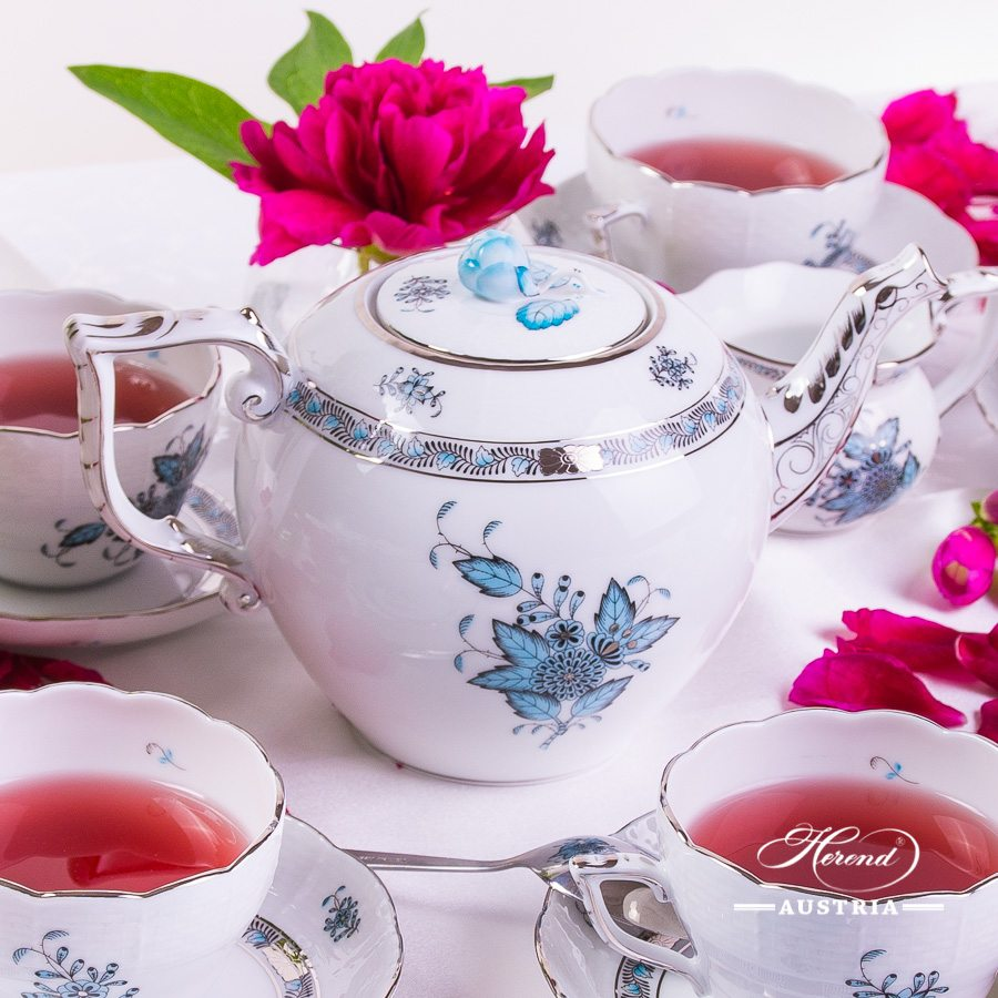 Chinese Bouquet Platinum (ATQ3-PT) - Tea Set for 6 Persons