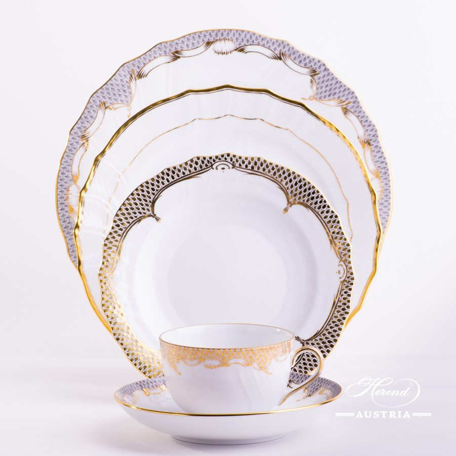 Gold Mixed - Place Settings with Tea Cup - 5 Piece