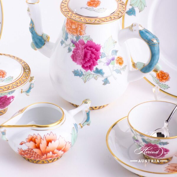 Coffee / Espresso Set for2 Persons - Herend Pink Peony PVR pattern. Herend fine chinahand painted. Tableware. Coffee Cup volume 0.9 dl(3 OZ)