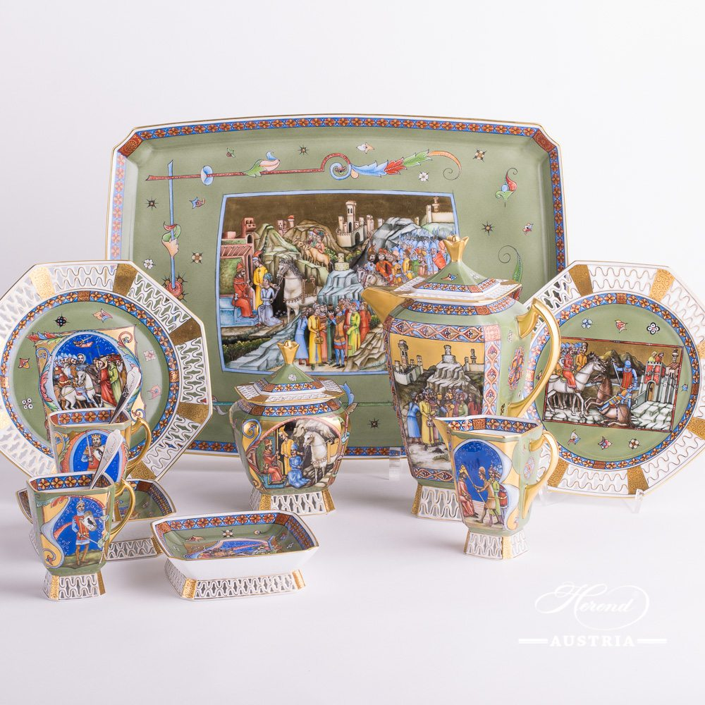 Coffee / Espresso Set for 2 Persons - Herend Medieval Miniatures HHVT pattern. Herend fine china hand painted. Tableware