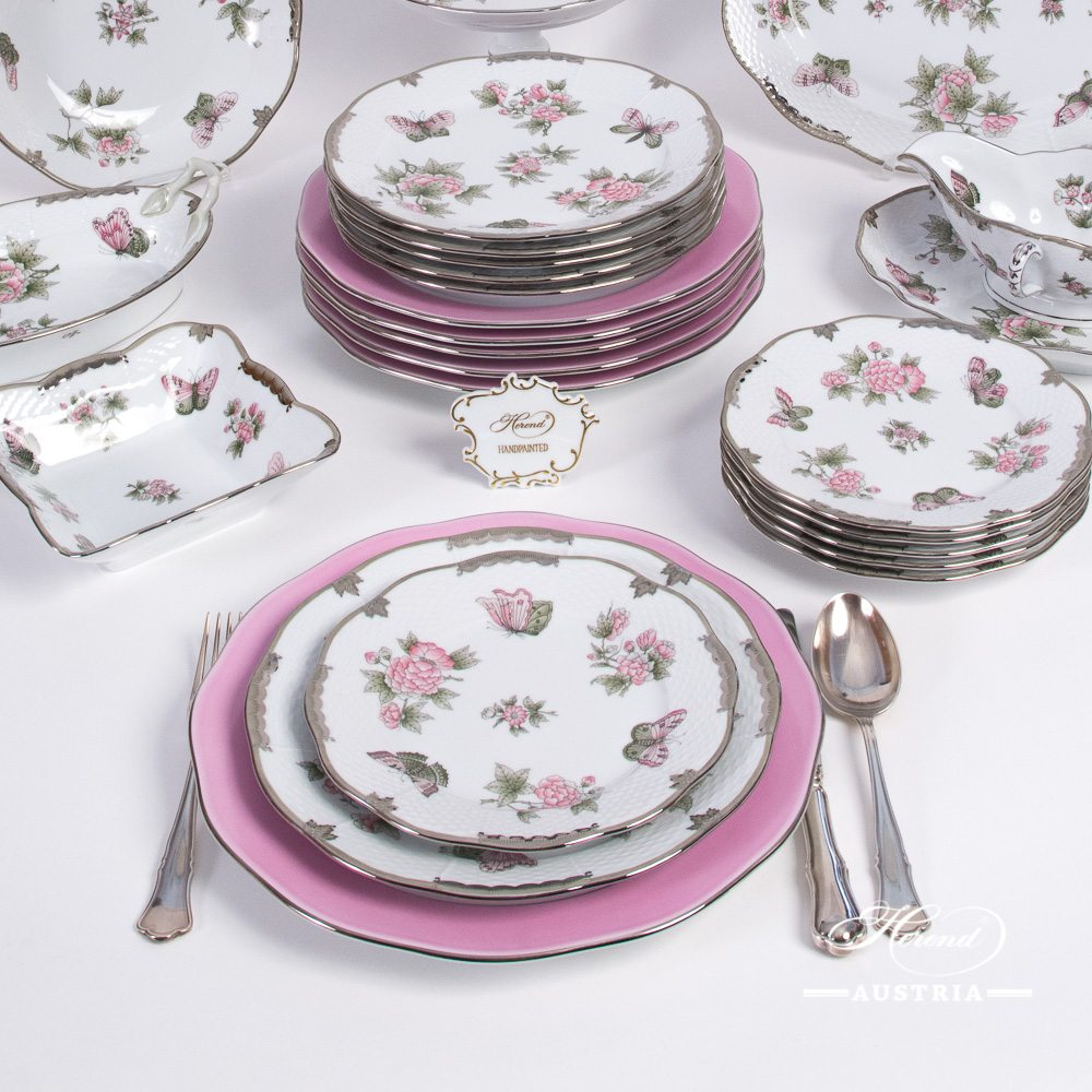 Dinner Set for 6 Persons - Herend Queen Victoria Platinum VBOG-X1-PT pattern. Herend porcelain hand painted. Tableware