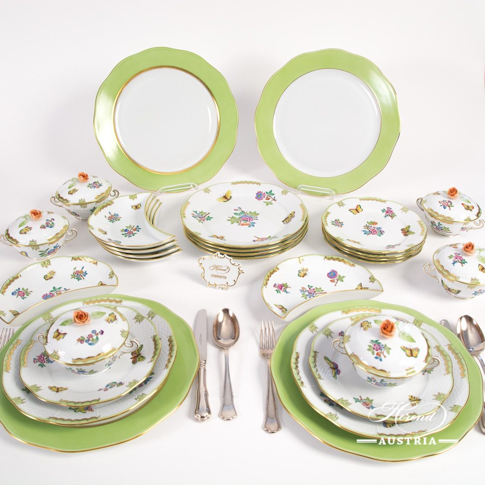 Dinner Set for 6 Persons - Herend Queen Victoria VBA decor. Herend porcelain hand painted. Tableware