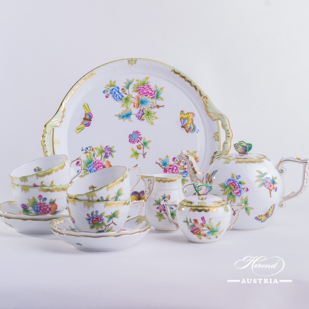 Tea Set for 2 Persons - Herend Queen Victoria VBO decor. Herend porcelain hand painted. Tableware. Coffee Cup 701-0-00 VBO