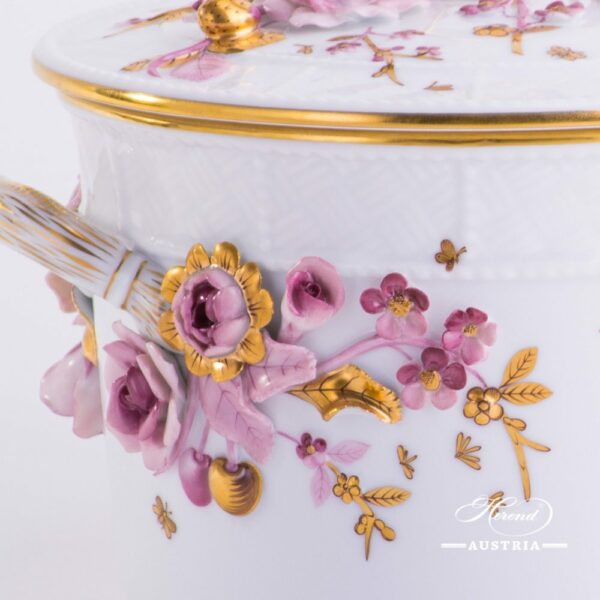 Fancy Biscuit Box w.Flower Applications 6299-0-66 CD1 Special Natural Colour pattern. Herend fine china. Hand painted ornaments