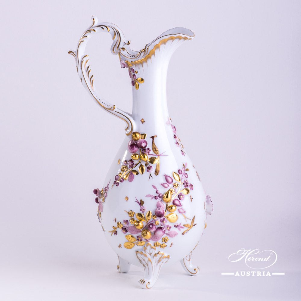 Fancy Jug w. Flower Applications 7598-0-66 CD1 Special Natural Colour pattern. Herend fine china. Hand painted ornaments