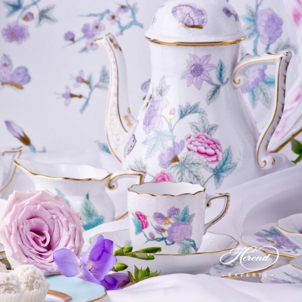 Coffee / EspressoSet for6 Persons - Herend Royal Garden Turquoise EVICT2 and EVICTF2 patterns. Herend fine china hand painted. Tableware
