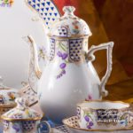 Coffee Set for 4 Persons - Herend Mosaic and Flowers MTFC pattern. Herend fine china hand painted. Tableware