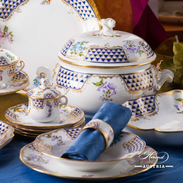 Dinner Set for 4 Persons - Herend Mosaic and Flowers MTFCpattern. Herend fine chinahand painted. Tableware and Dinnerware