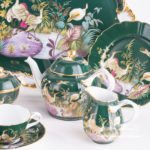 Tea Set for 2 Persons - Herend SP1058 Special Green design. Herend fine china. Hand painted tableware. Limited Edition
