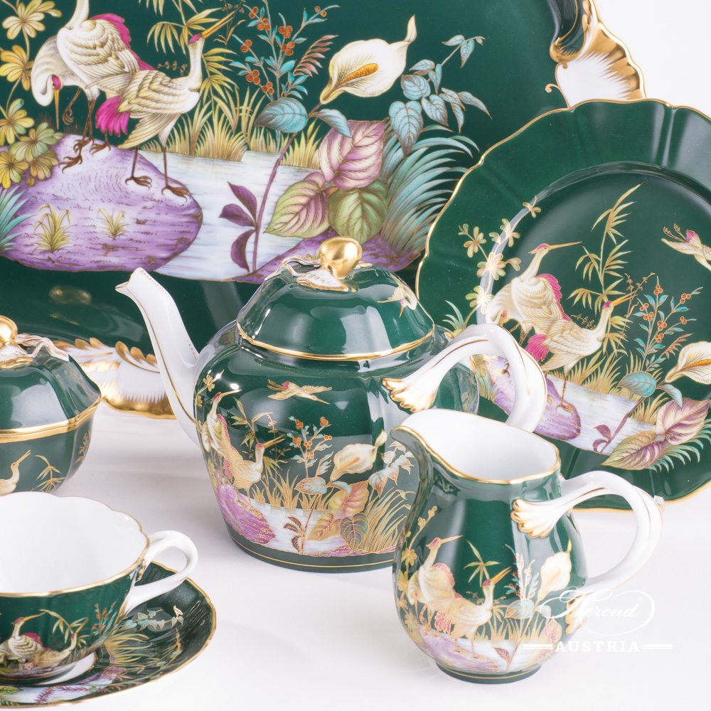 Waterfowls Green - Tea Set for 2 Persons