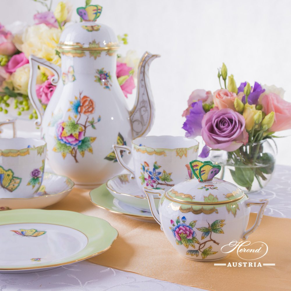 Coffee  Set for 2 Persons - Herend Queen Victoria VBO decor. Herend porcelain hand painted. Tableware. Coffee Cup 706-0-00 VBO