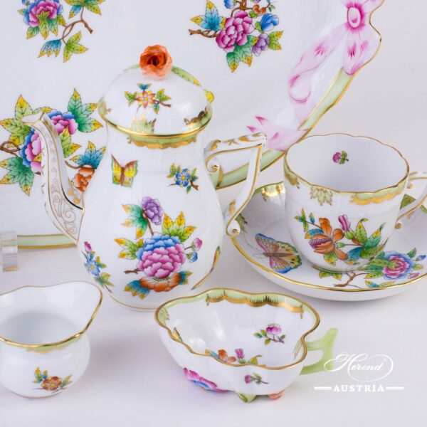 CoffeeSet for2 Persons - Herend Queen Victoria VBO decor. Herend porcelainhand painted. Tableware
