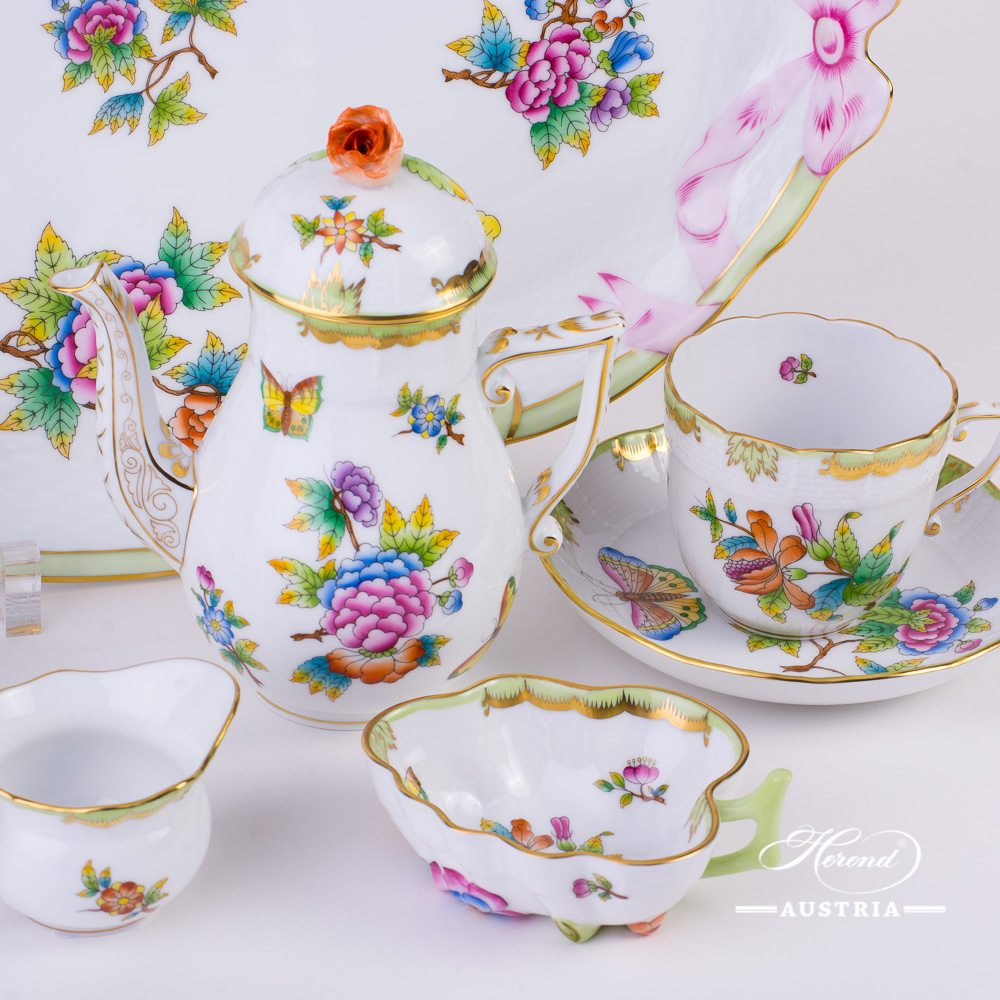 Coffee Set for 2 Persons - Herend Queen Victoria VBO decor. Herend porcelain hand painted. Tableware