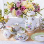 Coffee / EspressoSet for2 Persons - Herend Queen Victoria VBO decor. Herend porcelainhand painted. Tableware. Coffee Cup 709-0-00 VBO