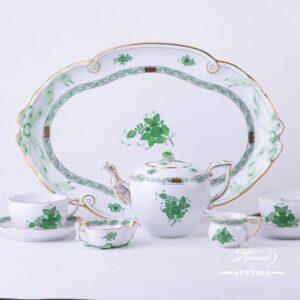 Apponyi Green - Tea Set w. Ribbon Tray for 2 Persons