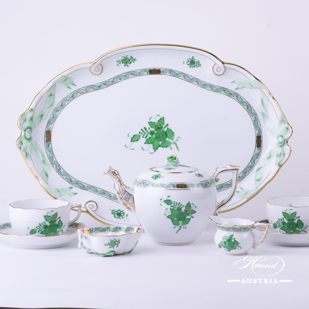 Apponyi Green - Tea Set w. Ribbon Tray for 2 Persons