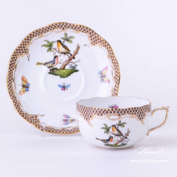 Tea Cup with Saucer 724-0-00 RO-ETM2 Rothschild Bird Brown Fish scale design. Herend fine china. Hand painted tableware