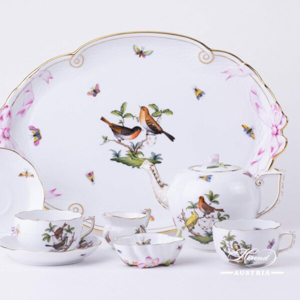 Tea Set for 2 Persons - Herend Rothschild Bird RO design. Herend fine china. Hand painted tableware