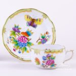 Tea Cup with Saucer 724-0-00 VBO Queen Victoria pattern. Herend porcelain hand painted. Tableware