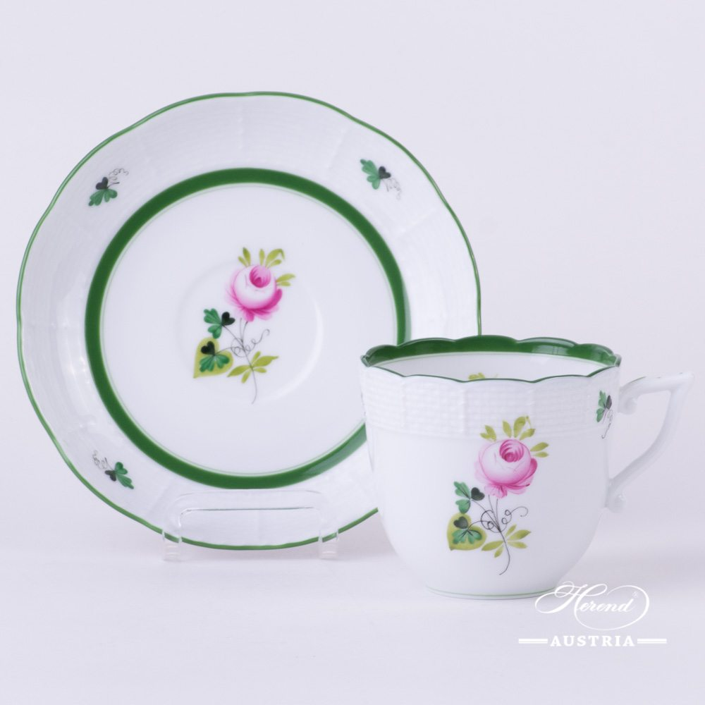 Coffee Cup and Saucer 706-0-00 Vienna Rose / Viennese Rose VRH pattern. Herend fine china. Hand painted tableware