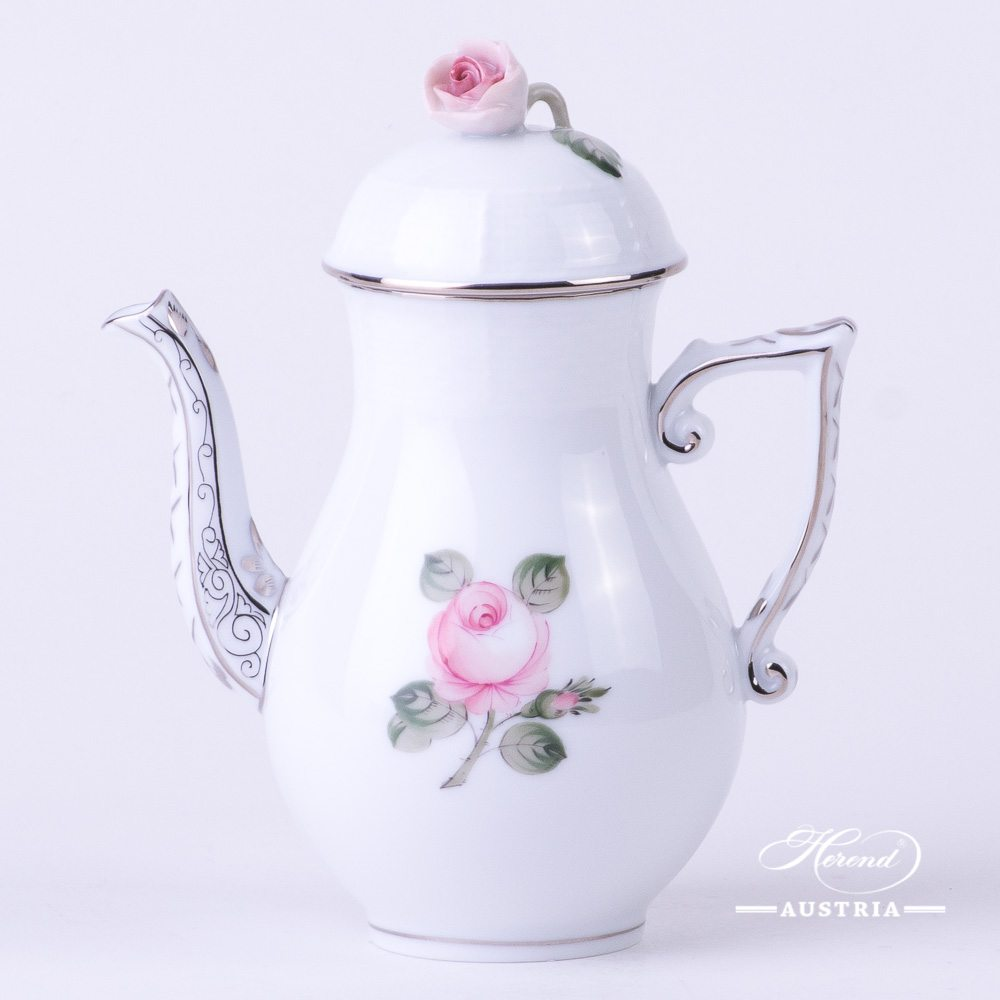 Coffee / Espresso Pot w. Rose Knob 614-0-09 VGRS-PT Vienna Rose Grand w. Platinum pattern. Herend fine china. Hand painted tableware