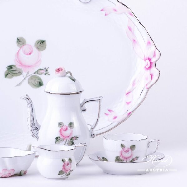 Coffee / EspressoSet for2 Persons - Herend Vienna Rose Grandwith PlatinumVGRS-PT pattern. Herend fine chinahand painted. Tableware