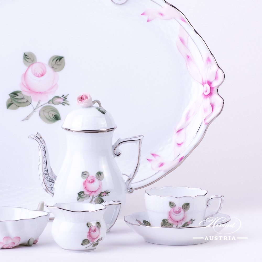 Coffee / Espresso Set for 2 Persons - Herend Vienna Rose Grand with Platinum VGRS-PT pattern. Herend fine china hand painted. Tableware