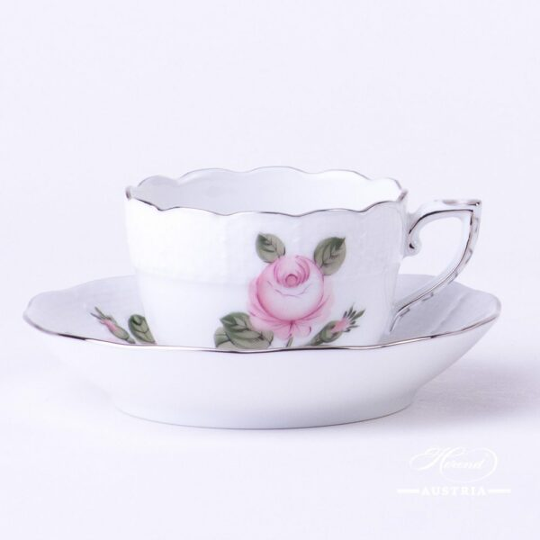 Coffee / Espresso Cup and Saucer 711-0-00 VGRS-PT Vienna Rose Grand w. Platinum pattern. Herend fine china. Hand painted tableware