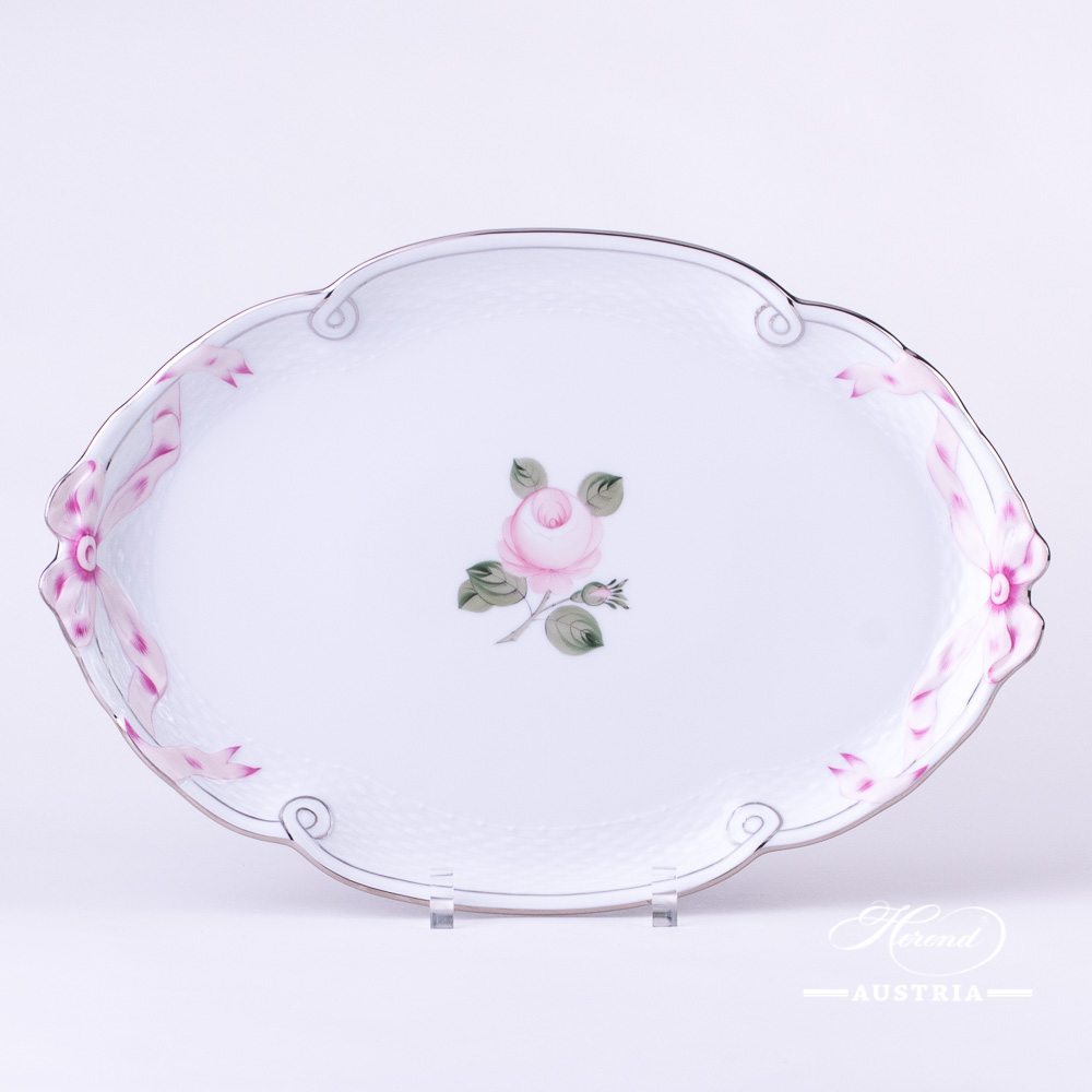 Tray with Ribbon 400-0-00 VGRS-PT Vienna Rose Grand with Platinum design. Herend fine china. Hand painted tableware