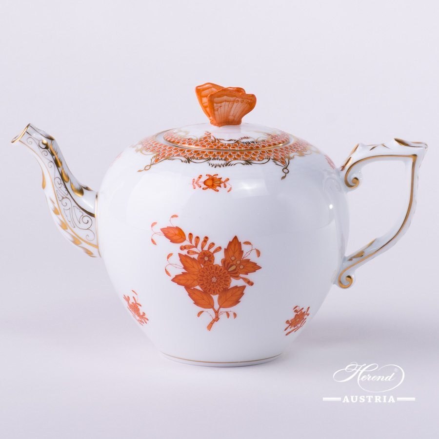 Apponyi Orange Tea Pot Fish Scale - 606-0-17 AOG-ETH - Orange