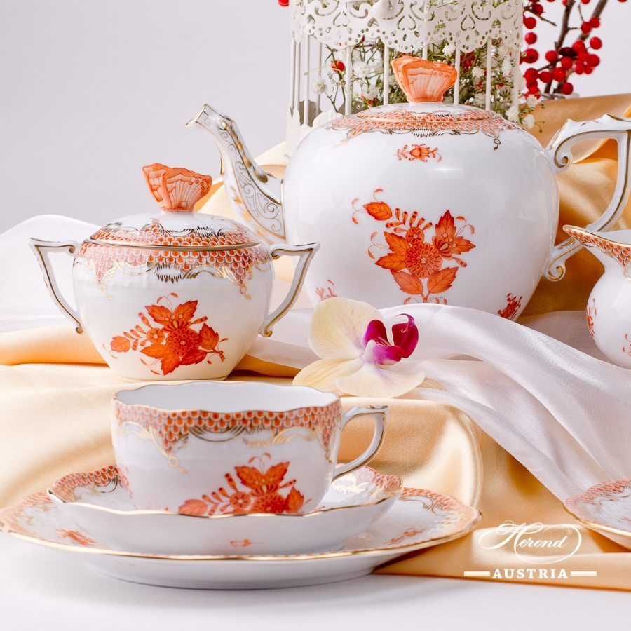 Tea Set for 2 – Apponyi Orange Fish Scale