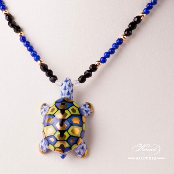 Turtle Necklace 15529-0-47 VHFB Navy Blue Fish scale design. Herend fine china. Hand painted ornaments. Onyx, Lapis Lazuli pearls