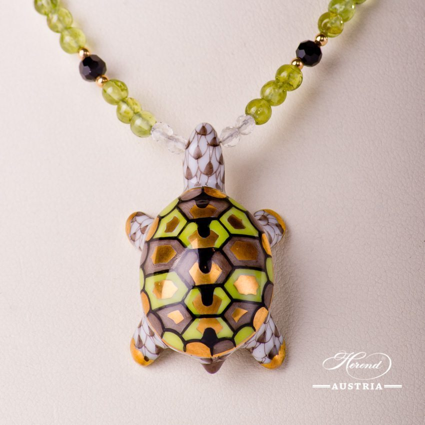 Turtle Necklace 15529-0-47 VHBR1 Light Brown Fish scale design. Herend fine china. Hand painted ornaments. Onyx, Olivine and Mountain Crystal pearls