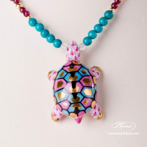 Turtle Necklace 15529-0-47 VHP Purple Fish scale design. Herend fine china. Hand painted ornaments. Onyx, Turquoise and Mountain Crystal pearls