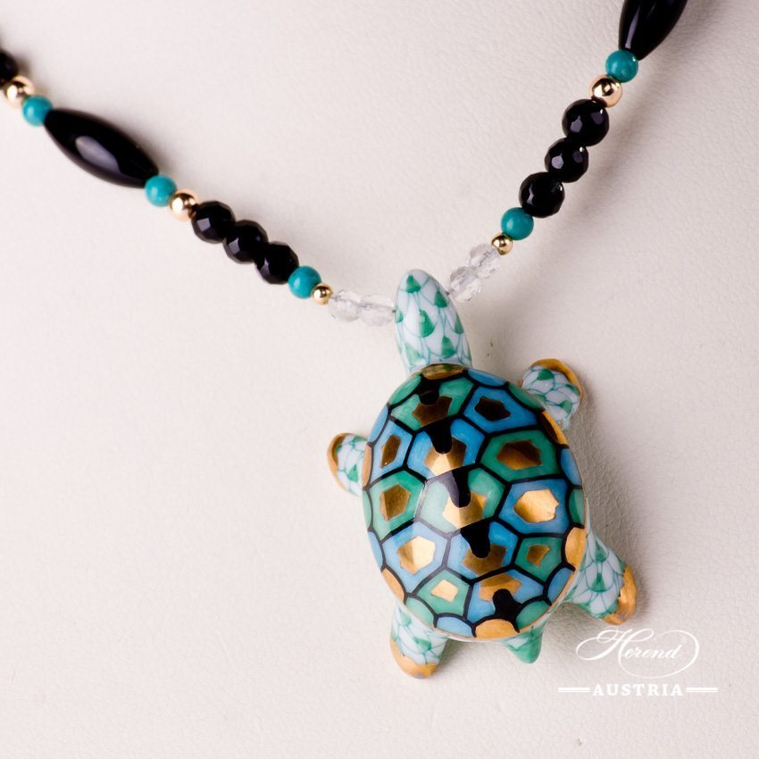 Turtle Necklace 15529-0-47 VHV Green Fish scale design. Herend fine china. Hand painted ornaments. Onyx, Turquoise and Mountain Crystal pearls