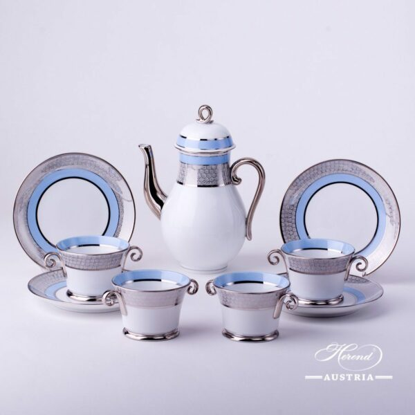 Coffee Set for 4 Persons - Herend Orient Blue with Platinum ORIENTB-PTpattern. Herend fine chinahand painted. Tableware