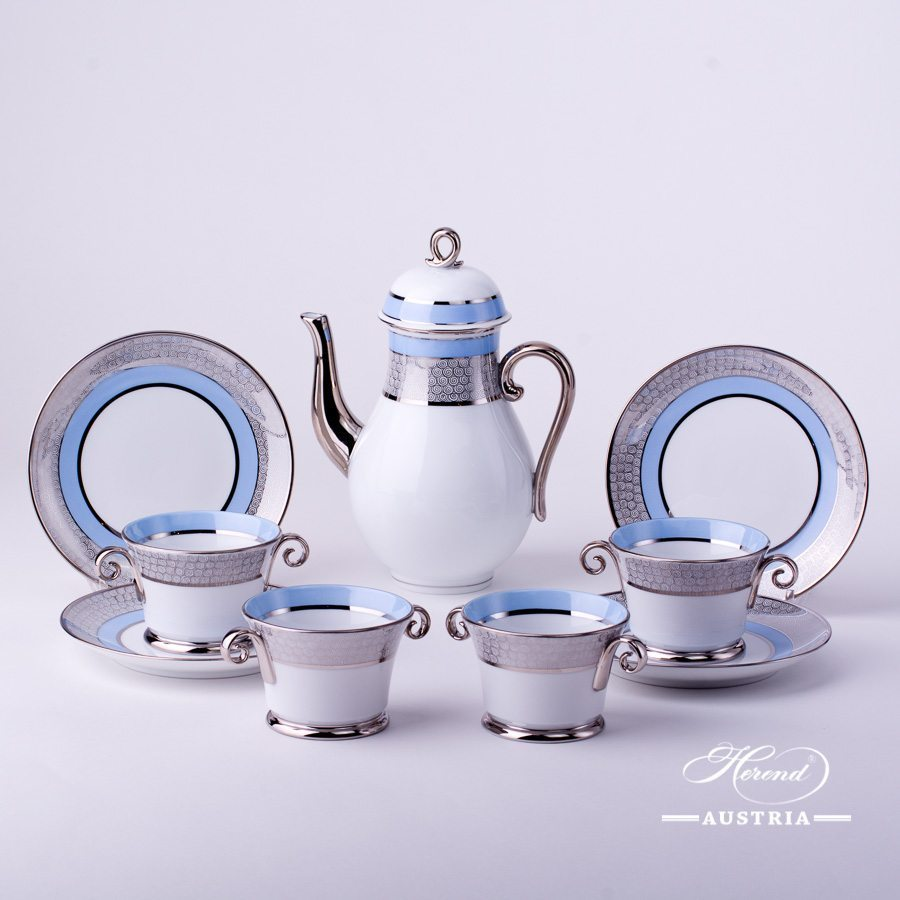 Coffee Set for 4 Persons - Herend Orient Blue with Platinum ORIENTB-PT pattern. Herend fine china hand painted. Tableware