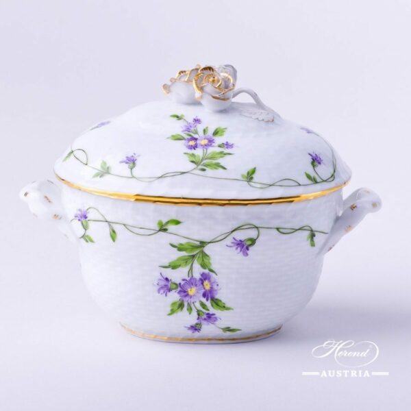 Sugar Basin w.Rose Knob 6012-0-09IA Imola design. Classic Herend pattern. Herend fine china. Hand painted tableware