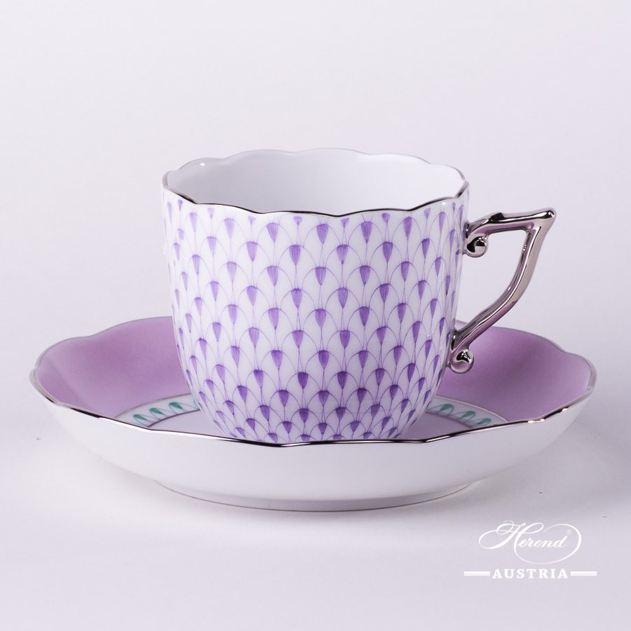 Coffee Cup and Saucer 20706-0-00 VHL-PT Lilac Fish scale w. Platinum design. Herend fine china. Hand painted tableware. Modern pattern