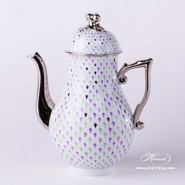 Coffee Pot w. Twisted Knob 20613-0-06 VH3COL4-PT Special Fish Scale w. Platinum pattern. Herend fine china. Hand painted tableware