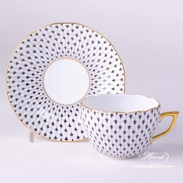 Tea / Coffee Cup and Saucer 20730-0-00 VHN Black Fish scale design. Herend fine china. Hand painted tableware. Modern pattern