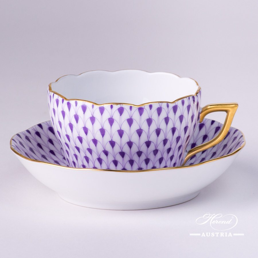 Tea / Coffee Cup and Saucer 20730-0-00 VHL Lilac Fish scale design. Herend fine china. Hand painted tableware. Modern pattern