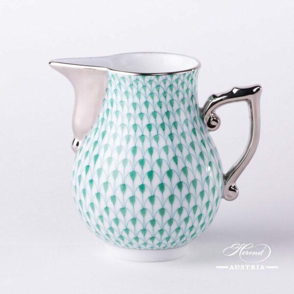 Milk Jug / Creamer 20657-0-00 VHV-PT Green Fish Scale w. Platinum design. Herend fine china. Hand painted tableware