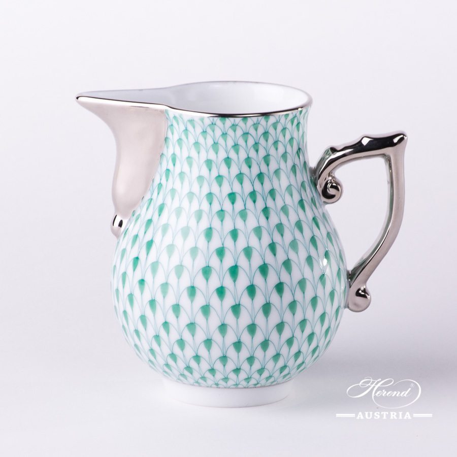 VH milk jug platinum green fishnet - Herend
