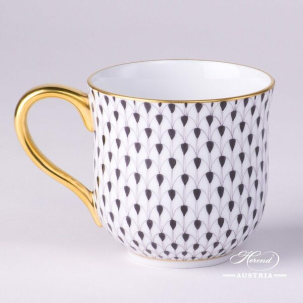 Universal Cup / Milk Mug 2739-0-00 VHN Black Fish scale design. Herend fine china. Hand painted tableware. Modern pattern